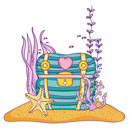 Undersea treasure with seaweed chest vector illustration graphic design