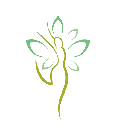 woman natural wellness with natural flower vector illustration