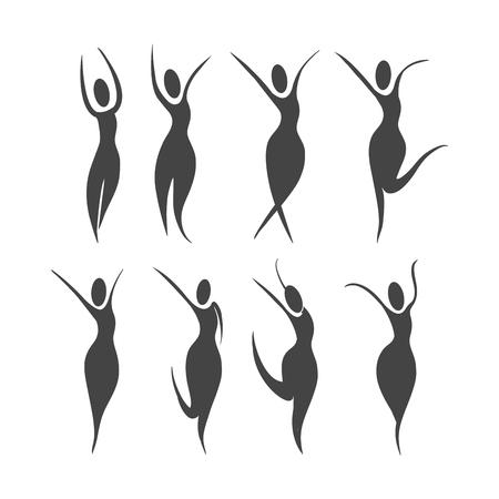 set woman wellness lifestyle and balance vector illustration Illustration