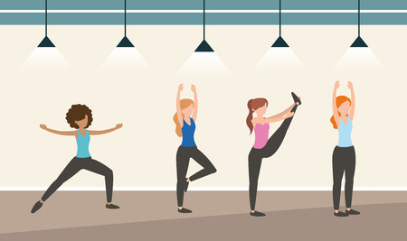 athlete women training exercise activity vector illustration