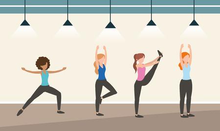 atleta donne formazione esercizio attività illustrazione vettoriale Vettoriali