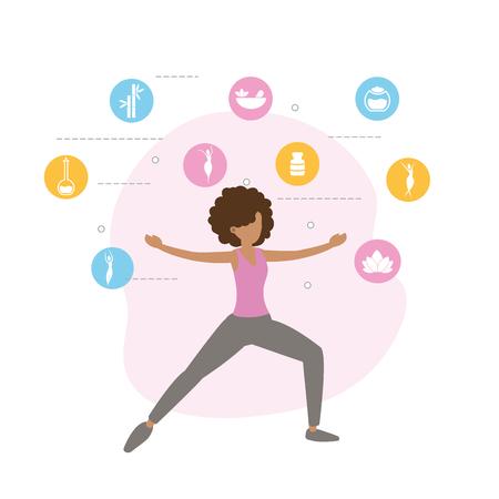 donna fitness facendo esercizio stile di vita illustrazione vettoriale
