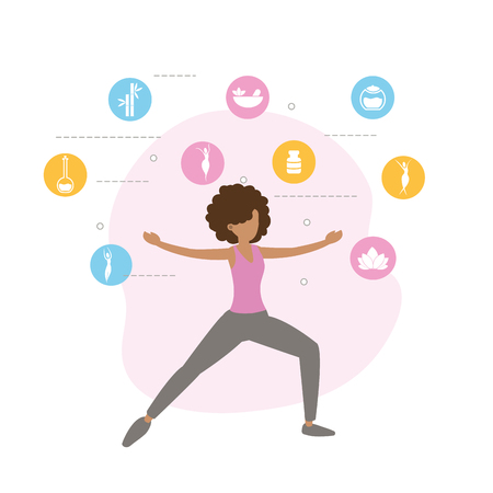 fitness woman doing exercise lifestyle vector illustration