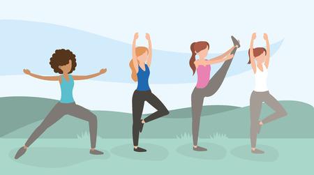 donne in buona salute che si allenano illustrazione vettoriale stile di vita esercizio