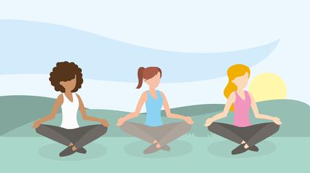 rilassare l'illustrazione di vettore di esercizio di addestramento di stile di vita delle donne
