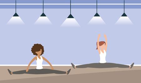 atleta donne formazione stile di vita esercizio illustrazione vettoriale Vettoriali