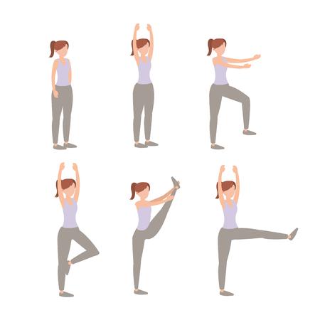 impostare lo stile di vita della donna esercizio di formazione illustrazione vettoriale