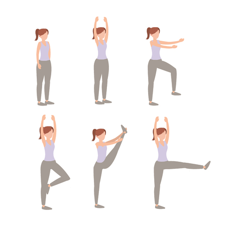 set woman lifestyle training exercise vector illustration Vettoriali