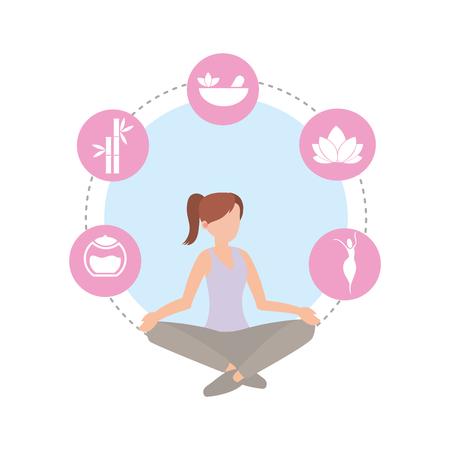 donna stile di vita sano facendo esercizio illustrazione vettoriale Vettoriali