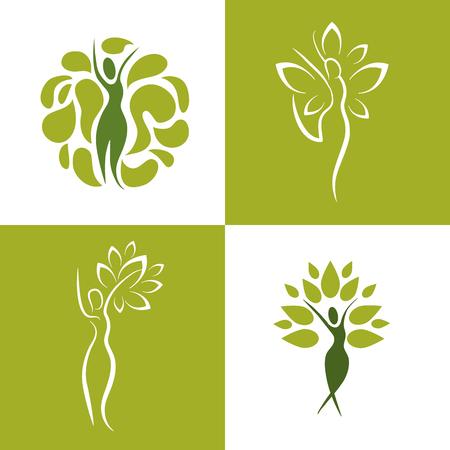 set wellness woman with nature balance vector illustration Illustration