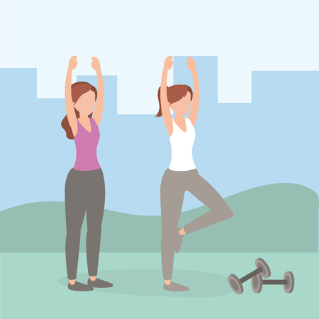 healthy women athlete doing exercise vector illustration