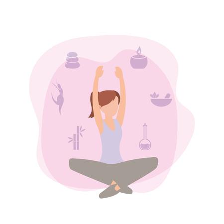 illustrazione vettoriale di fitness donna formazione esercizio attività