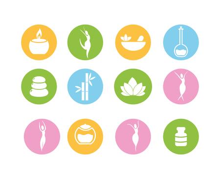 impostare alimentazione sana naturale e illustrazione vettoriale stile di vita fitness Vettoriali