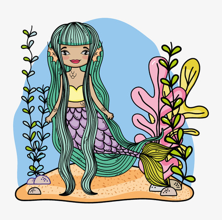 woman mermaid with long hair and tropial plants vector illustration