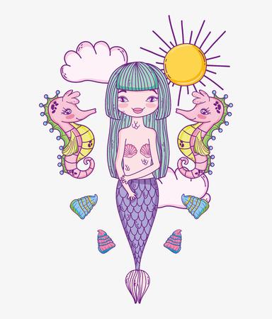 beauté femme sirène avec des hippocampes et des coquillages