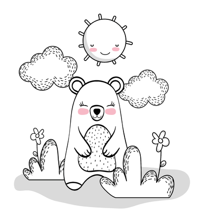 cute bear with happy sun and clouds vector illustration Illustration