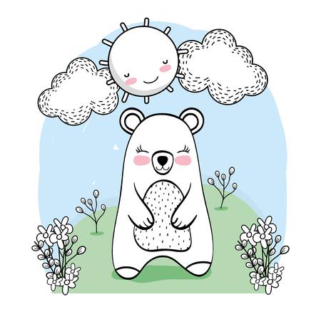cute bear animal with flowers plants vector illustration