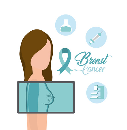 woman breast cancer diagnosis treatment vector illustration