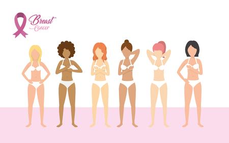 breast cancer women prevention treatment vector illustration