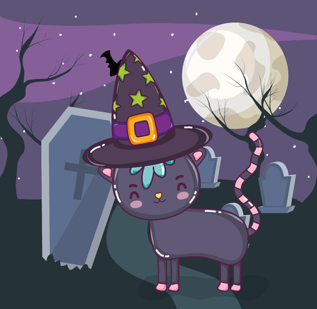 Halloween cat with cute scary elements at night vector illustration graphic design