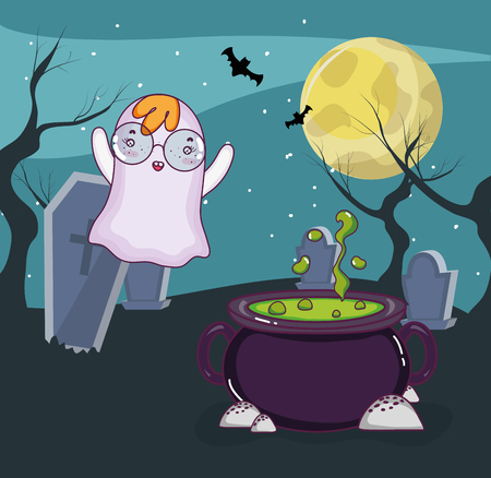 Halloween ghost flying around cemetery at night vector illustration graphic design