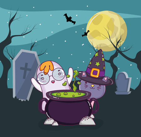 Halloween night with ghost and cat cartoons vector illustration graphic design