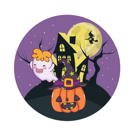 Halloween scary cartoons at night scenery vector illustration graphic design