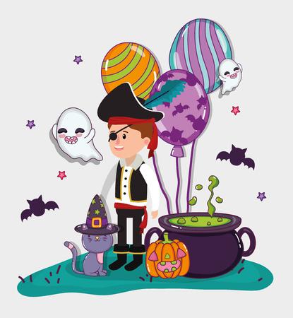 Niño de celebración de Halloween con dibujos animados de disfraces de pirata vector ilustración diseño gráfico
