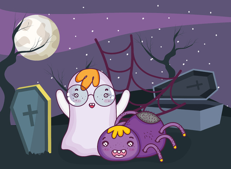 Halloween night with ghost flying at cemetery cartoon vector illustration graphic design