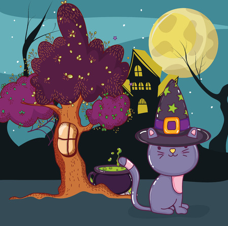 Halloween night with cat and scary cartoons vector illustration graphic design Stock Illustratie