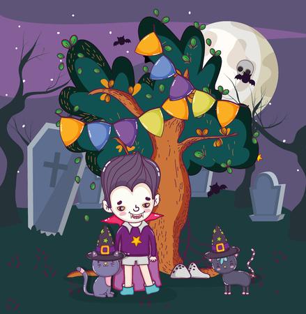 Halloween celebration vampire boy at night cartoons vector illustration graphic design