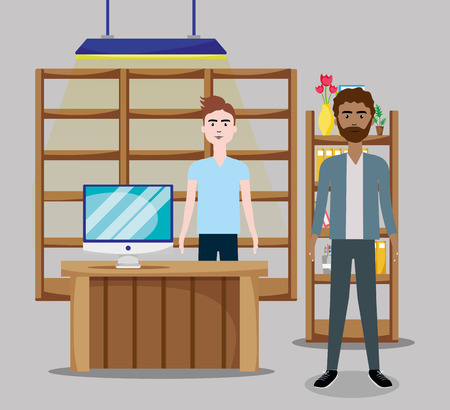 Business coworkers at office scenery cartoon vector illustration graphic design