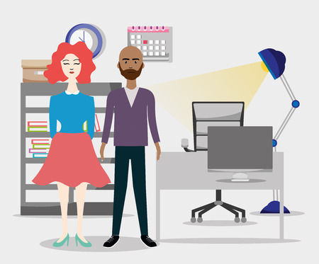 Business coworker at office cartoon scenery vector illustration graphic design