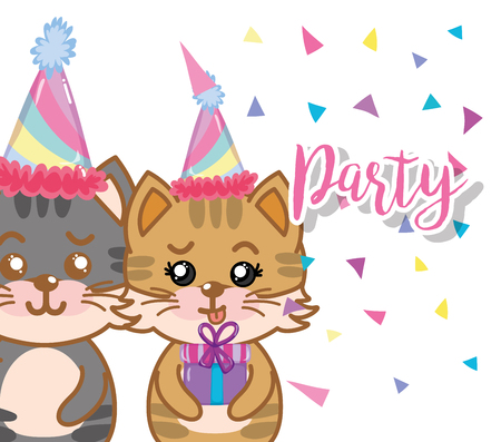 Birthday party with cute cats cartoons vector illustration graphic design