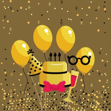 happy birthday celebration with cake and wine vector illustration Illusztráció