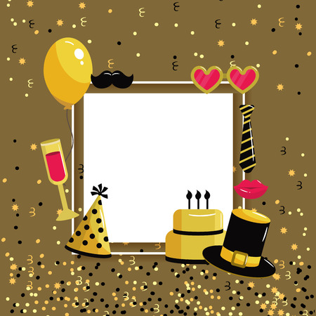 happy birthday letter with decoration style vector illustration 矢量图像