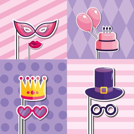 set happy birthday costume event vector illustration