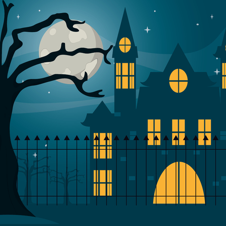 Halloween haunted house at cemetery vector illustration graphic design vector illustration graphic design
