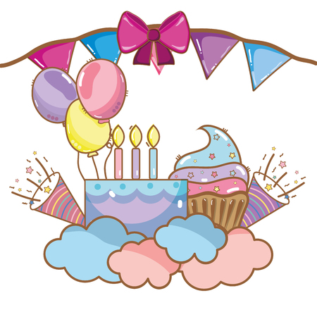 Happy birthday elements cute cartoons vector illustration graphic design