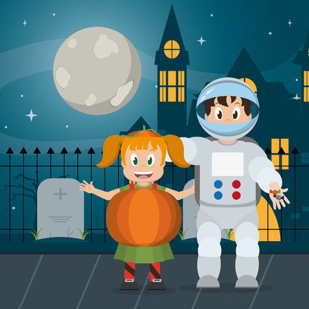 Kids at night with halloween costume cartoons vector illustration graphic design Stock Illustratie