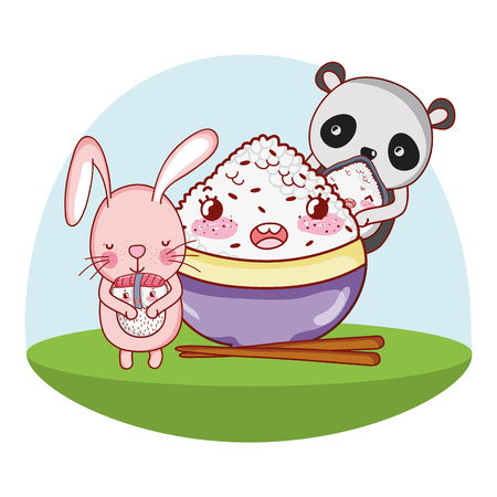 Panda bear and bunny with food kawaii cartoons vector illustration graphic design 矢量图像
