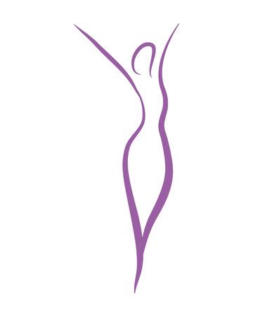 Diseño gráfico del ejemplo del vector del símbolo de las hojas del extracto del yoga de la silueta de la mujer