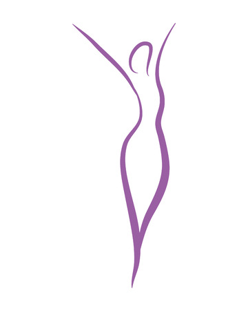 Woman silhouette yoga abstract leaves symbol vector illustration graphic design Illustration