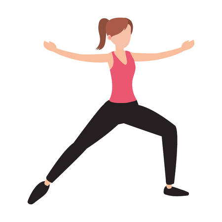 Woman doing yoga position avatar isolated vector illustration graphic design