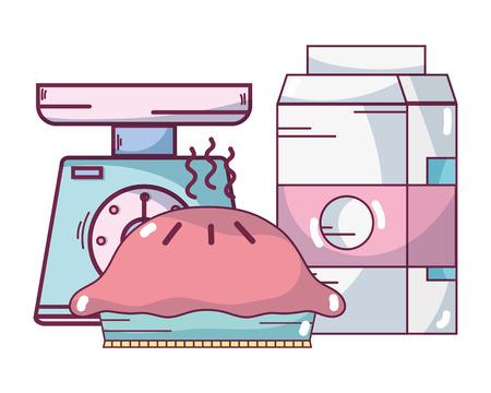 Sweet pie dessert with milk and gramer vector illustration graphic design Ilustrace