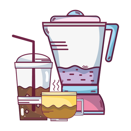 Coffee cup with smoothie and blender appliance cartoons vector illustration graphic design Illustration