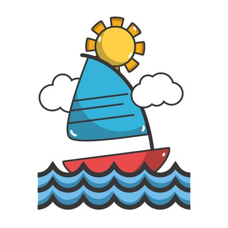 Sail navigating on sea summer cartoons vector illustration graphic design  イラスト・ベクター素材