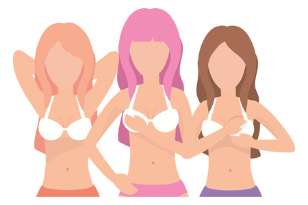 Women breast self examination against cancer campaign vector illustration graphic design