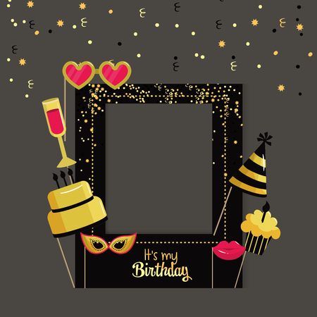 happy birthday framework with party decoration vector illustration