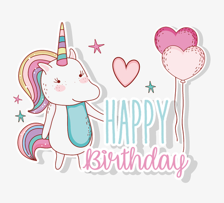 cute unicorn with hairstyle and heart balloons vector iillustration Illustration